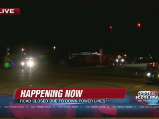 Power lines cause overnight road closures