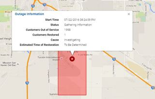 Power outage reported near the Tucson Airport