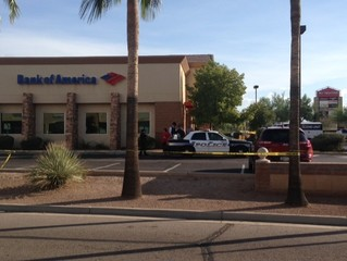 Police investigating a bank robbery