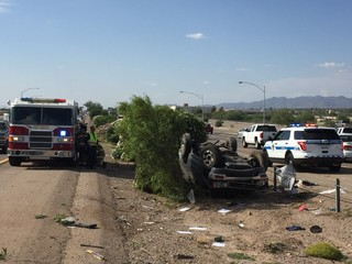 Rollover accident slows traffic on I-10