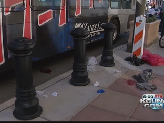 Woman seriously injured after falling into bus