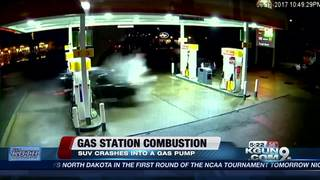 SUV runs into gas pump, causes explosion