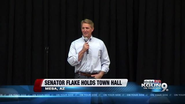 Sen. Jeff Flake faces jeering crowd at town hall