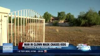 Axe-wielding man in clown mask chases kids