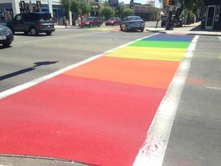 Rainbow crosswalks installed on Fourth Avenue