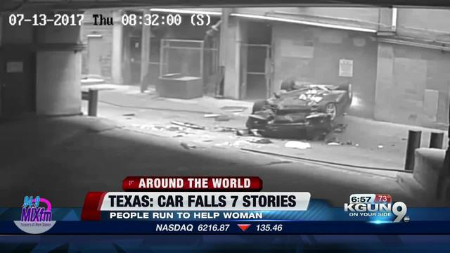 BMW violently plunges off Texas parking garage