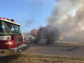 Structure fires burning in SV mobile home park