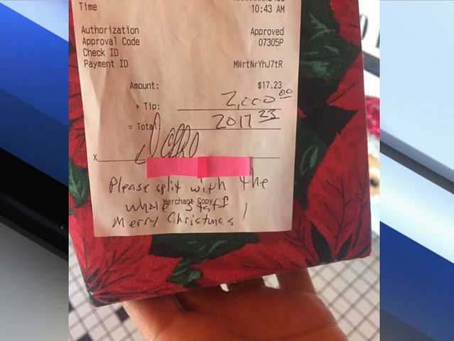 Diner customer leaves $2000 tip on $17 bill