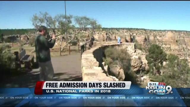 National Park Service reduces fee-free days to 4 in 2018
