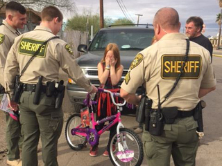 Deputies surprise girl with new bike