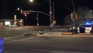 Traffic lights fixed after SUV crashes into pole