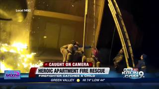 Heroic firefighter makes an incredible catch