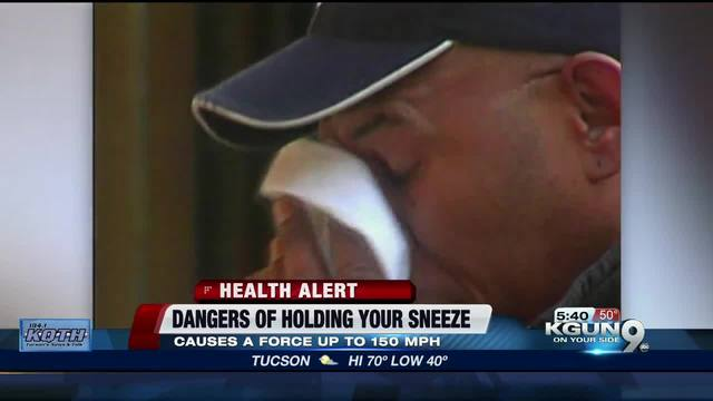Man hospitalized for two weeks after holding in sneeze