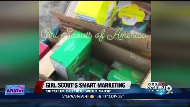 Girl Scout sells cookies outside California marijuana shop