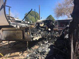 Four families displaced after RVs catch fire