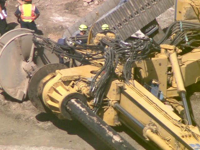 efforts to move toppled drill rig to resume  worker