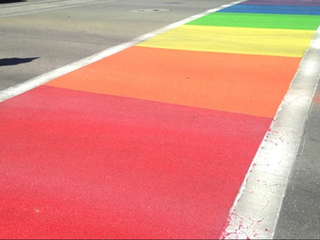 Tucson's rainbow crosswalks fading