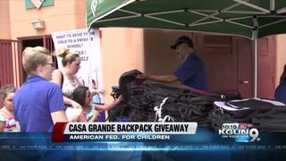 Backpacks handed out to 100 kids in Casa Grande